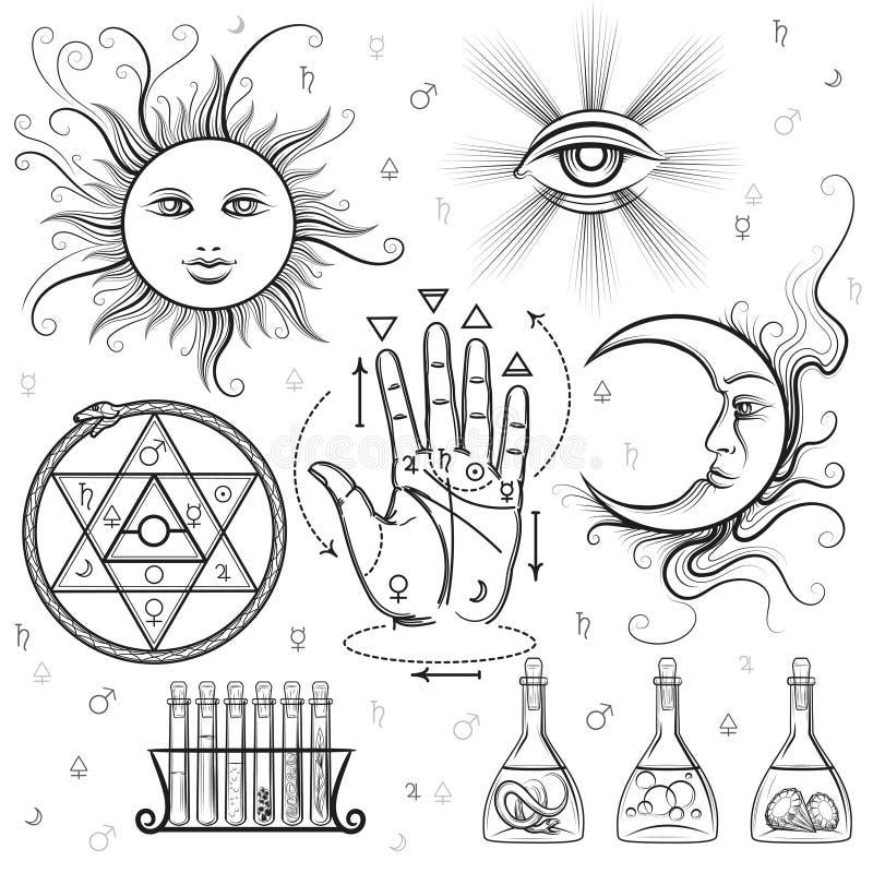 Эзотерические символы вектора знаков иллюстрация вектора