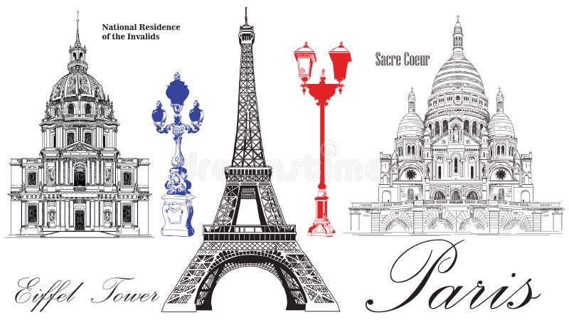 Эйфелева башня вектора, национальная резиденция Invalids и Sacr бесплатная иллюстрация