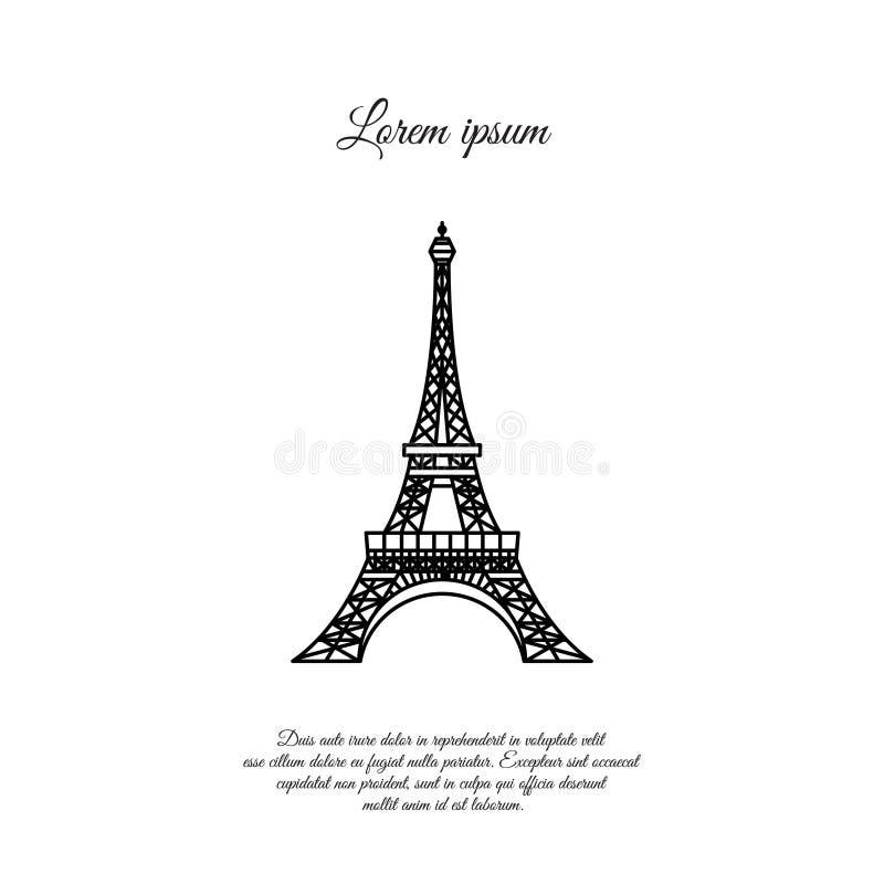 Эйфелева башня в линии значке вектора Парижа, знаке иллюстрация штока