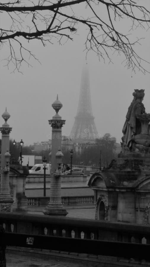 Эйфелева башня в черно-белом стоковые изображения