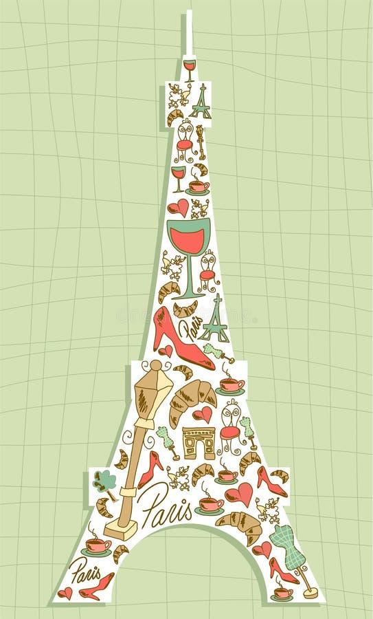 Эйфелева башня иконы Париж перемещения установленная иллюстрация штока