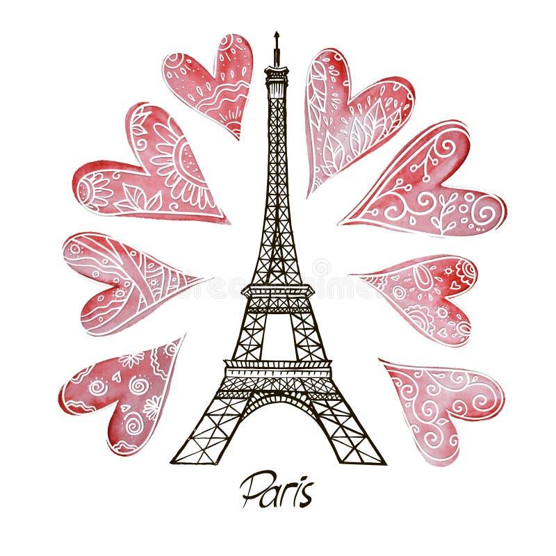 Эйфелева башня и сердце иллюстрация штока