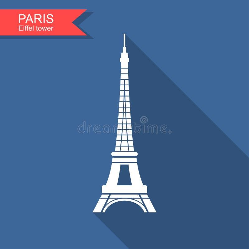 Эйфелева башня, Париж, Франция Значок Парижа перемещения иллюстрация штока