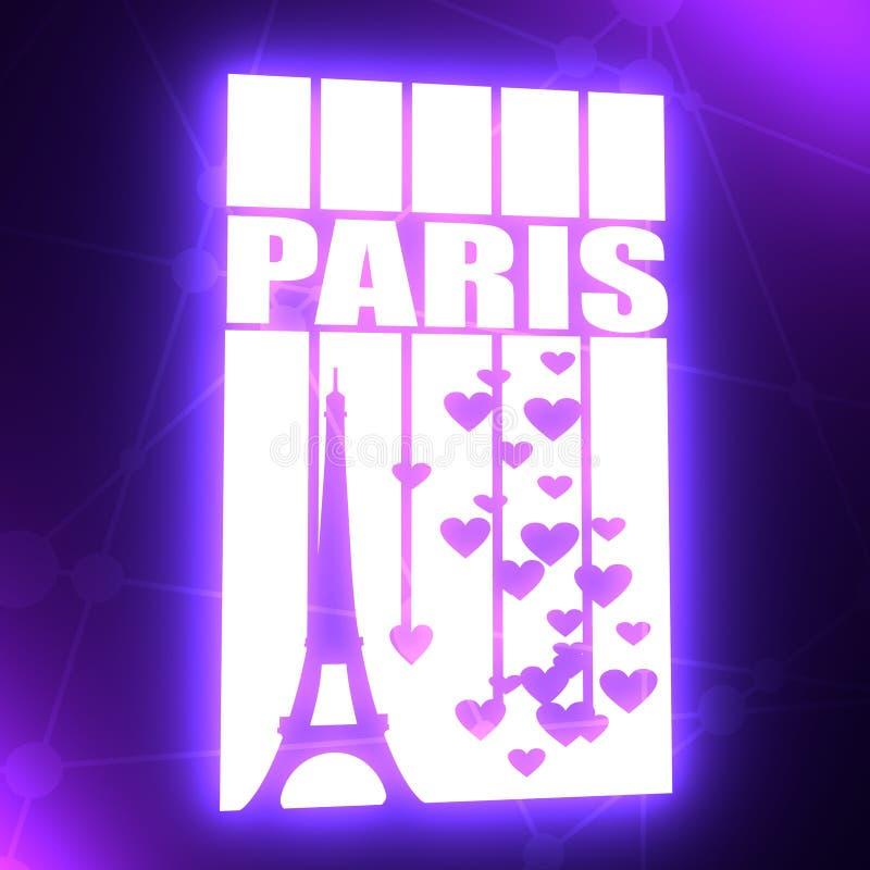 Эйфелева башня Текст Парижа иллюстрация вектора