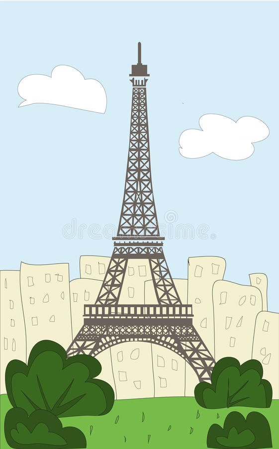 Эйфелева башня шаржа иллюстрация вектора