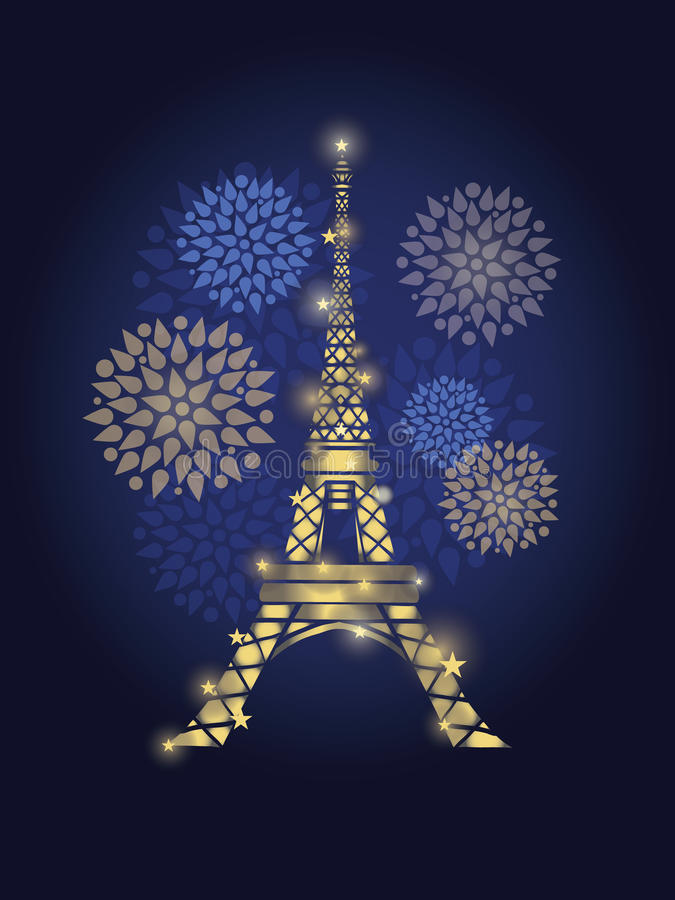 Эйфелева башня вектора накаляя окруженная фейерверками в силуэте Парижа на ноче Французский ориентир ориентир на синем иллюстрация штока