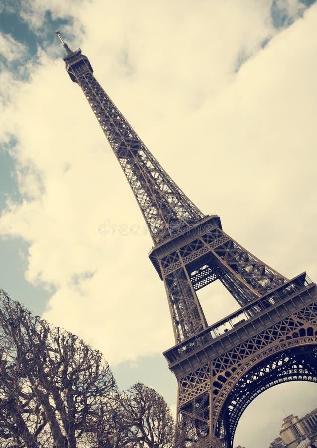 Эйфелева башня - винтажное фото стоковое изображение