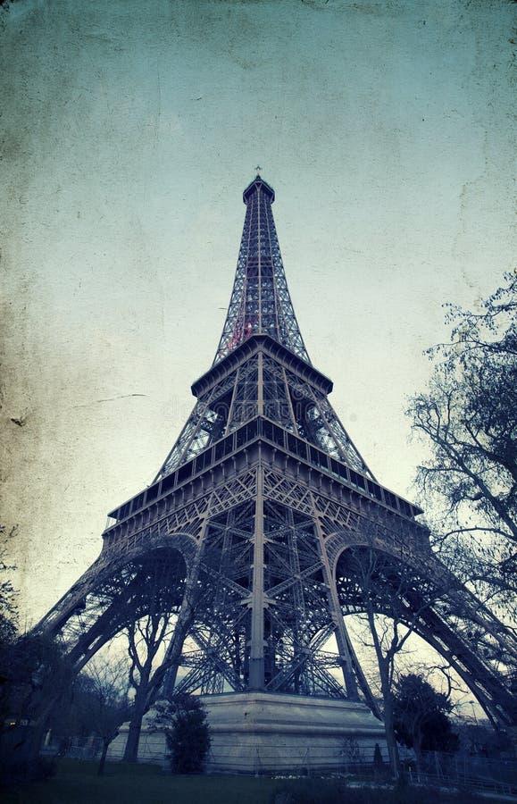 Эйфелева башня - винтажное фото стоковое изображение rf