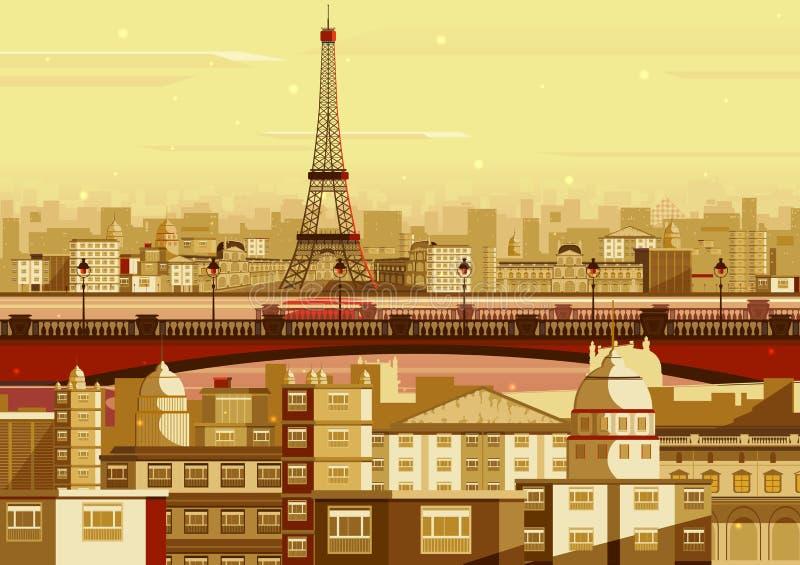 Эйфелева башня в городском пейзаже Парижа иллюстрация штока