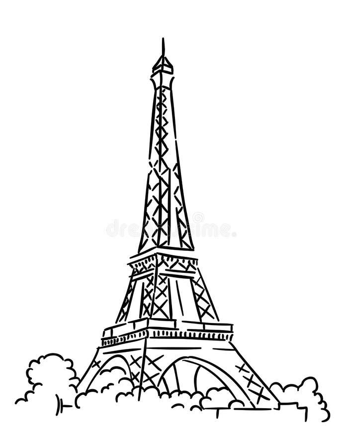 Эйфелева башня в Париже, Франции иллюстрация вектора