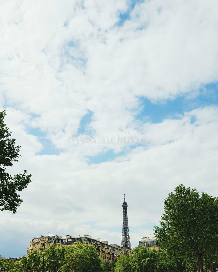 Эйфелева башня за деревьями и домами, Парижем стоковое изображение