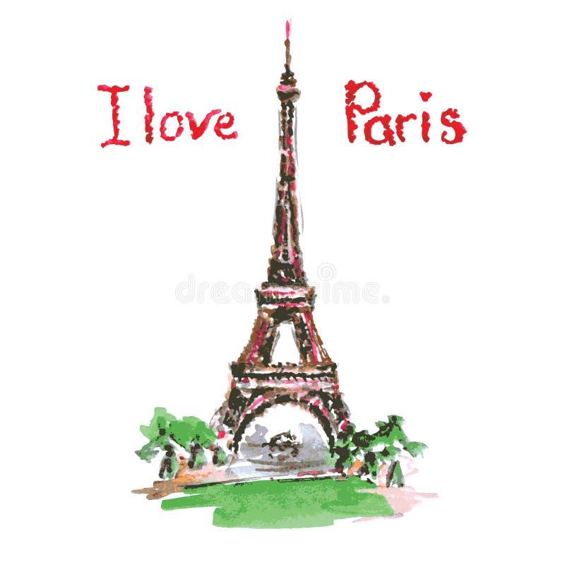 Эйфелева башня, литерность, розовые сердца Нарисованное рукой оформление акварели иллюстрация вектора