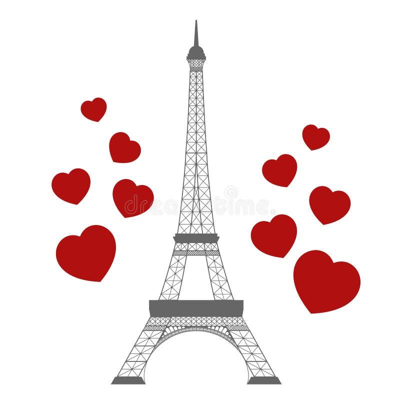 Эйфелева башня и сердца иллюстрация штока