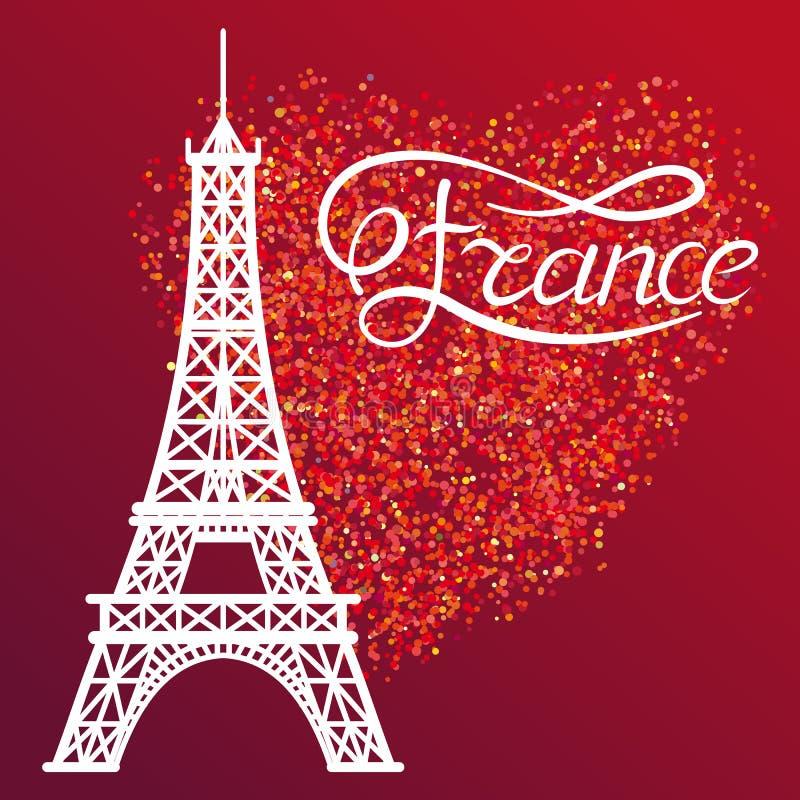Эйфелева башня и Франция помечать буквами на красном сердце яркого блеска бесплатная иллюстрация