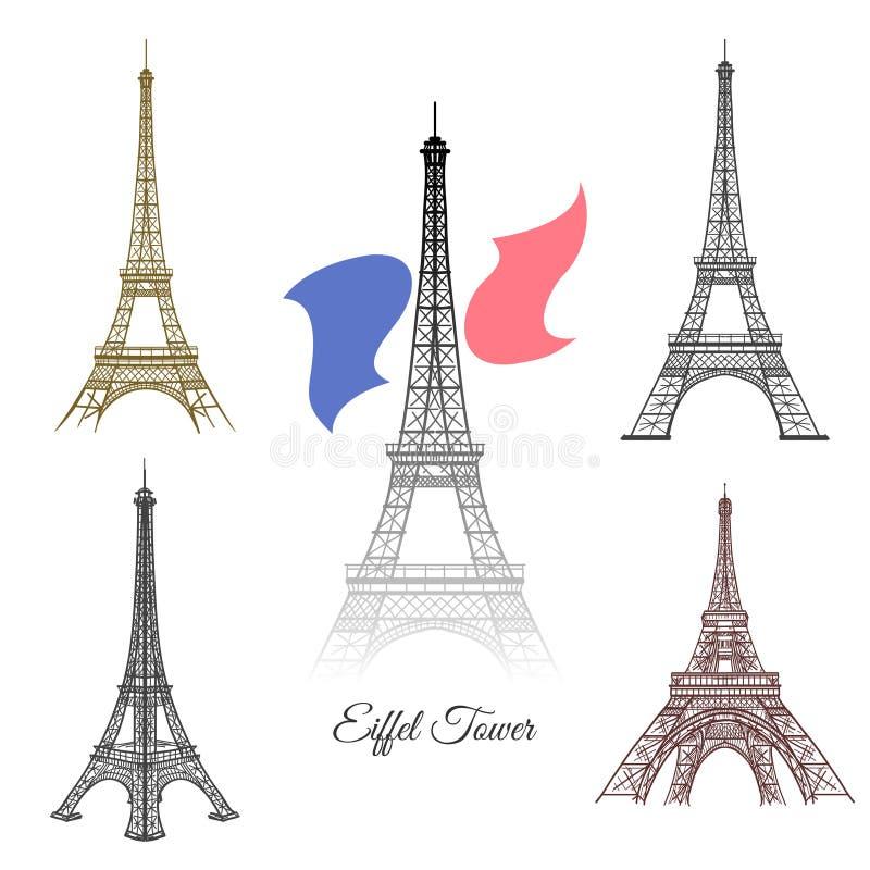 Эйфелева башня нарисованная рукой в векторе Парижа иллюстрация штока