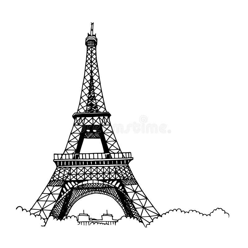 Эйфелева башня нарисованная рукой иллюстрация вектора