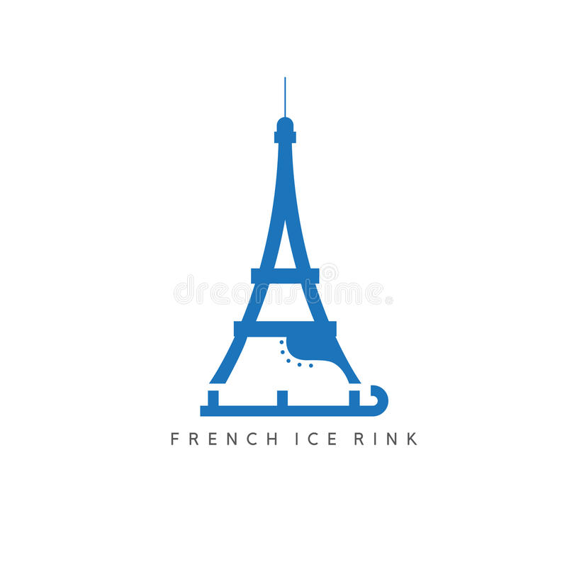 Эйфелева башня с дизайном вектора коньков иллюстрация штока