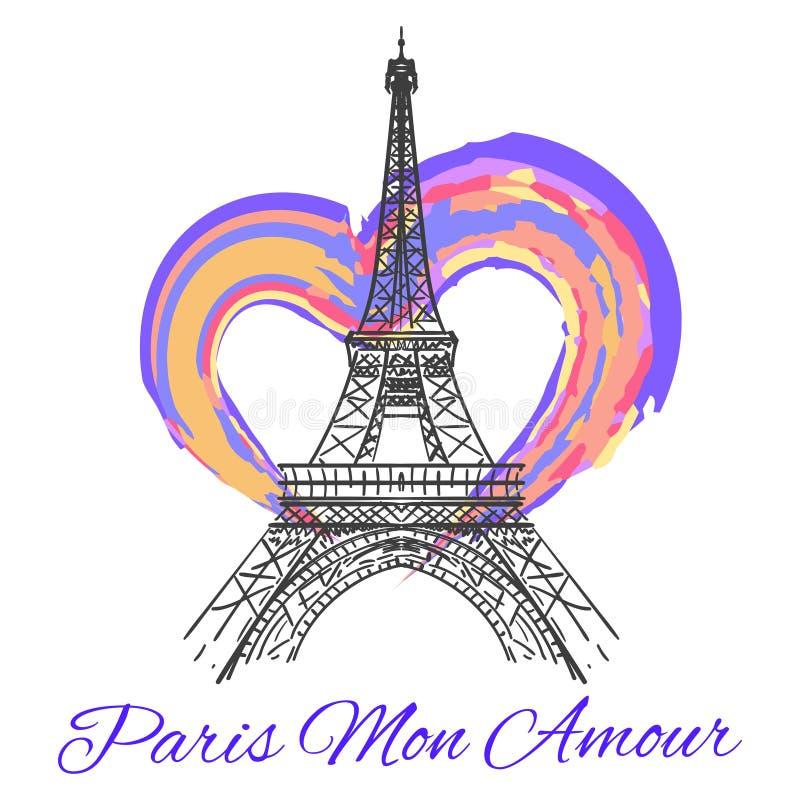 Эйфелева башня с красочным ярким сердцем иллюстрация штока