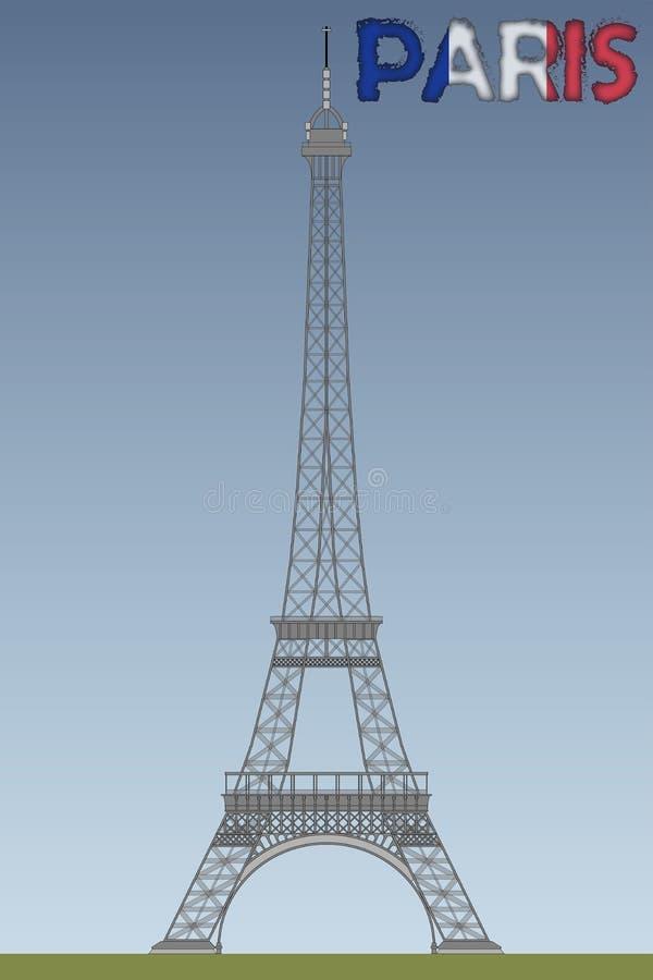 Эйфелева башня с письмами Парижа иллюстрация вектора