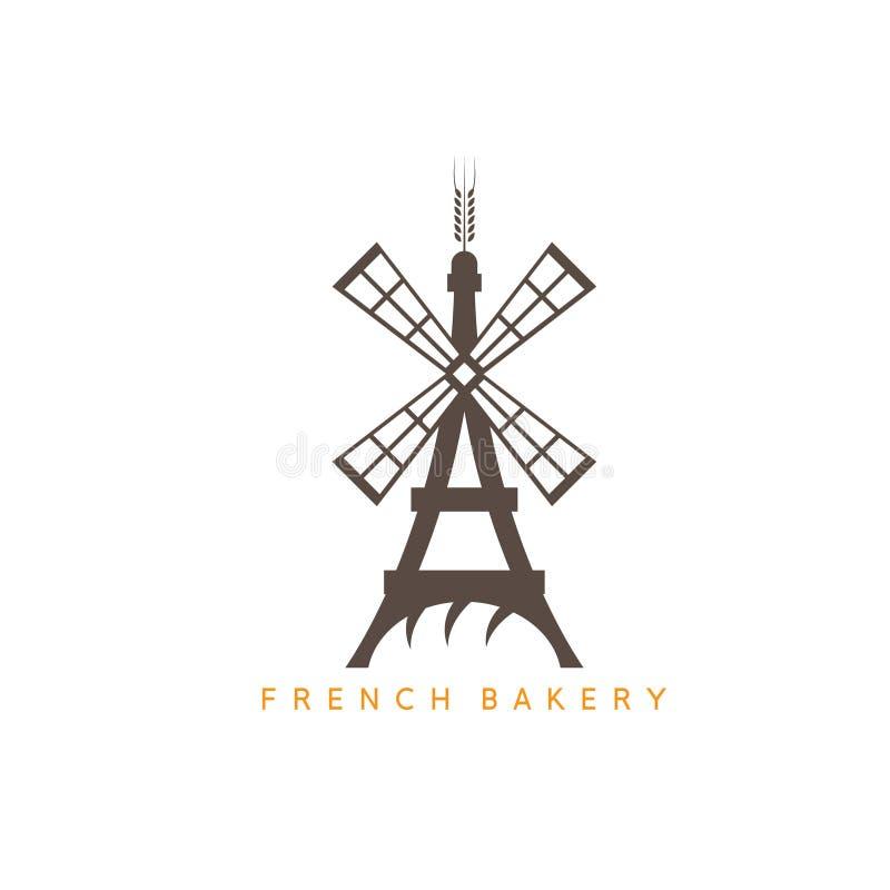 Эйфелева башня с хлебом и дизайном вектора мельницы бесплатная иллюстрация