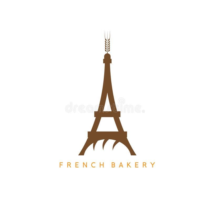 Эйфелева башня с хлебом и дизайном вектора шипа иллюстрация вектора