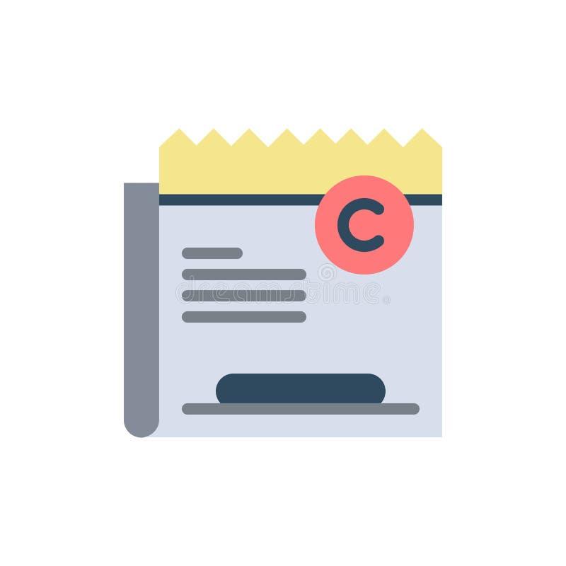 Экземпляр, авторское право, ограничение, право, значок цвета файла плоский Шаблон знамени значка вектора иллюстрация штока