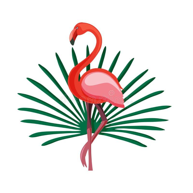 Экзотическая плоская печать лета с фламинго и тропическими листьями изолированными на белизне бесплатная иллюстрация