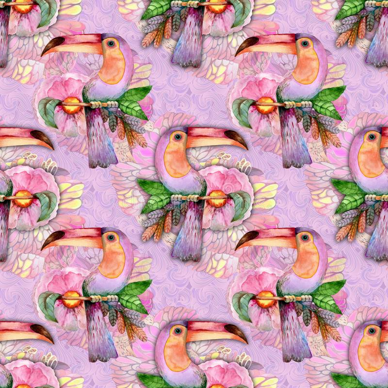 Экзотическая птица на розовой предпосылке иллюстрация вектора