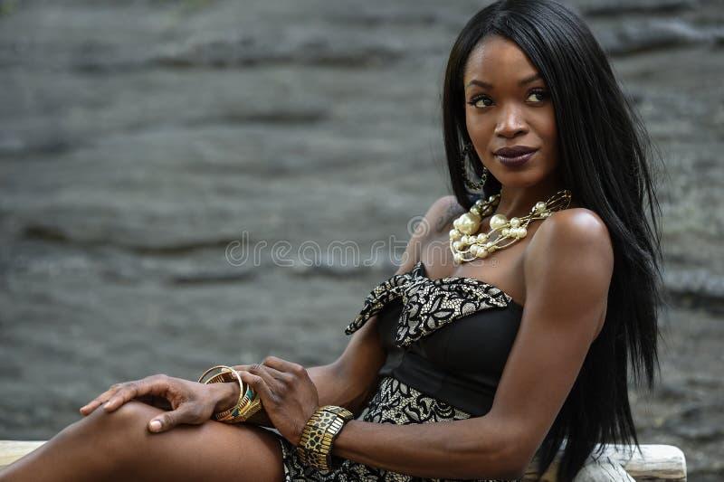 Экзотическая смотря Афро-американская женщина стоковые изображения