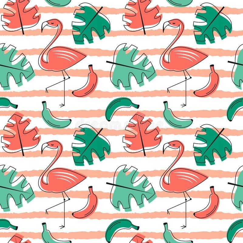 Экзотическая тропическая безшовная картина вектора с фламинго птицы, листьями ладони и предпосылкой коралла цветков ультрамодной  иллюстрация вектора