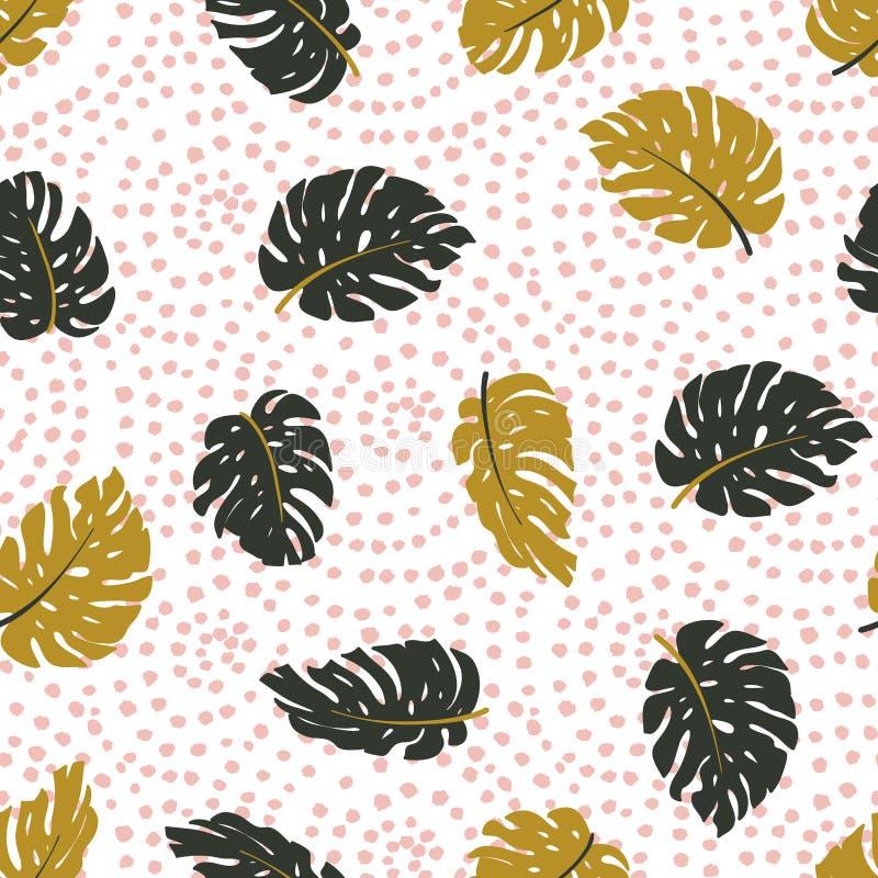 Экзотические листья и орнамент точек Безшовной картина нарисованная рукой тропическая Предпосылка вектора бесплатная иллюстрация