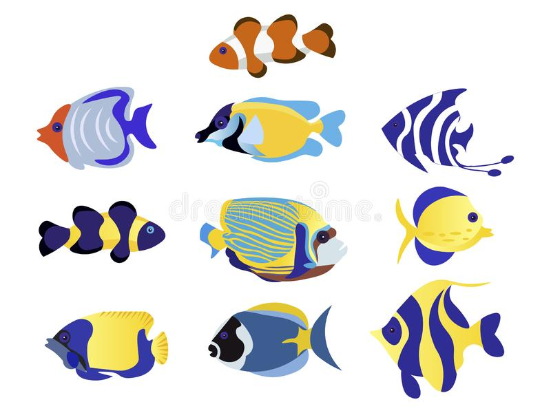 Экзотические рыбы установили животную иллюстрацию вектора плоско бесплатная иллюстрация