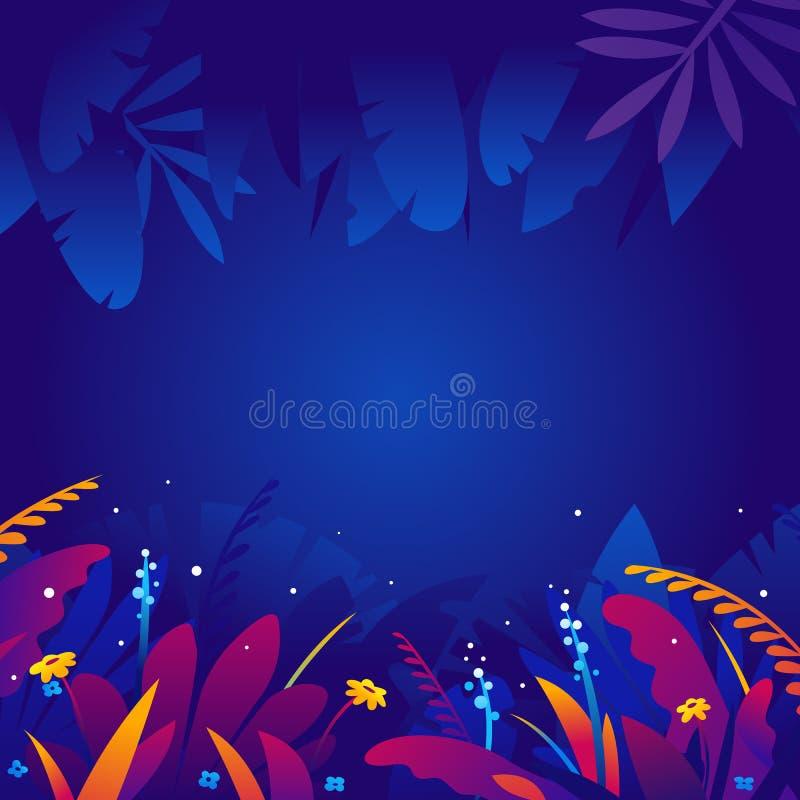 Экзотические тропические заводы в предпосылке ночи бесплатная иллюстрация