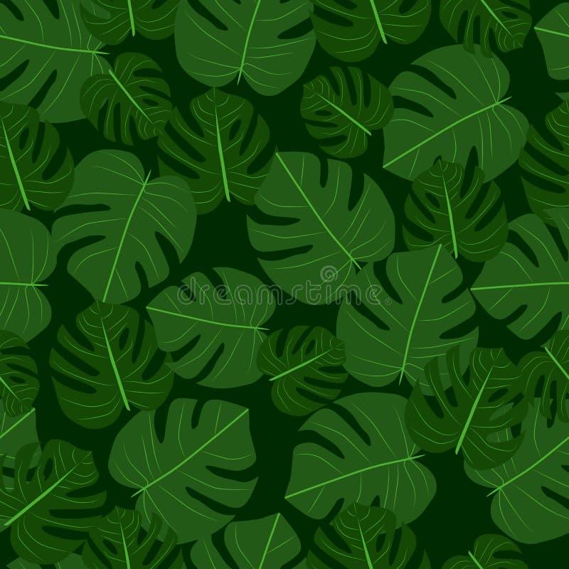 Экзотические тропические листья Собрание Monstera иллюстрация штока