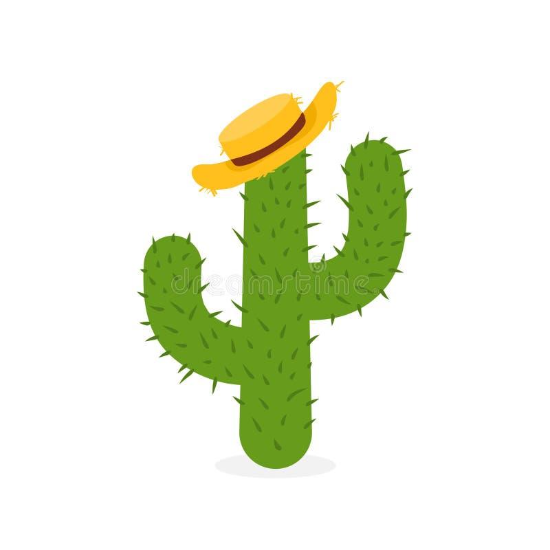 Экзотический кактус в соломенной шляпе Вручите вычерченный мексиканский кактус изолированный на белой предпосылке иллюстрация штока