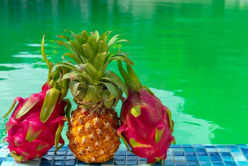 Экзотический плод на фоне бассейна на солнечный день стоковое изображение