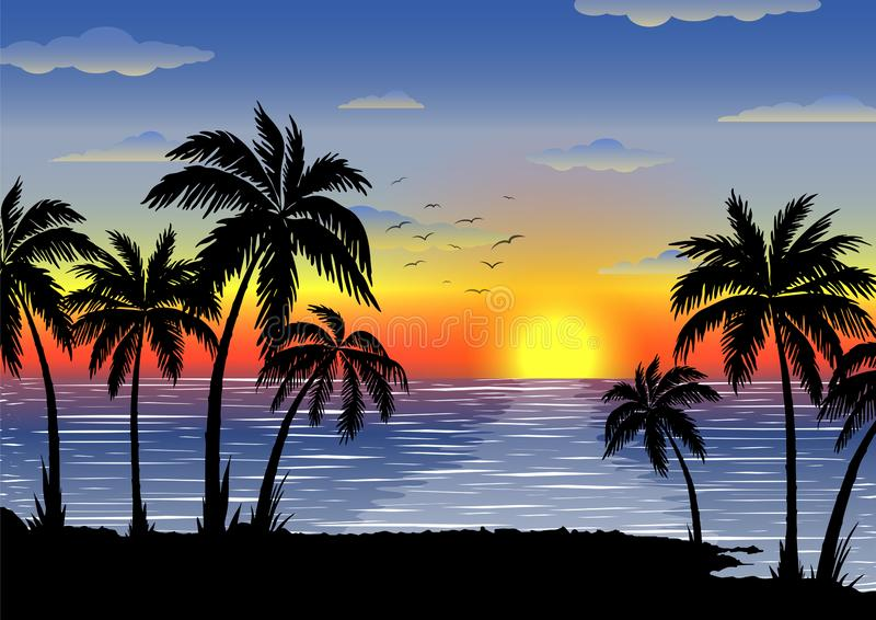 Экзотический тропический ландшафт с ладонями Пальмы на заходе солнца или лунном свете Seascape Туризм и путешествовать стоковое изображение rf
