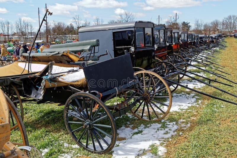 Экипажи Амишей для продажи на аукционе стоковые изображения