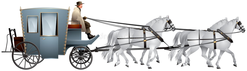 Экипаж вытягиванный мимо для белых лошадей иллюстрация вектора