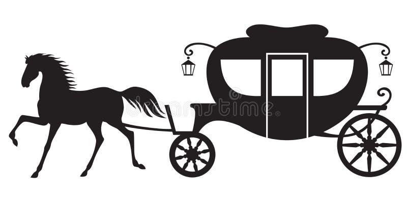 Экипаж и лошадь иллюстрация штока