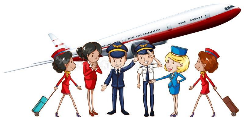 Экипаж и реактивный самолет авиакомпании иллюстрация штока