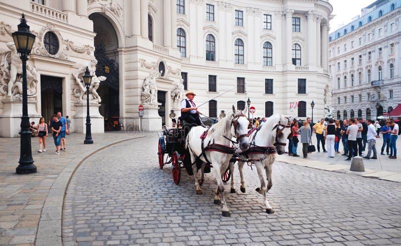 Экипаж нарисованный лошадью, дворец Hofburg, вена, Австрия стоковые фото