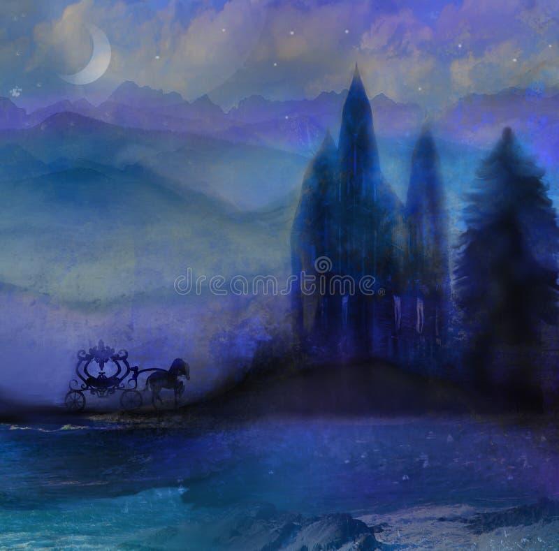 Экипаж лошади и средневековый замок иллюстрация штока