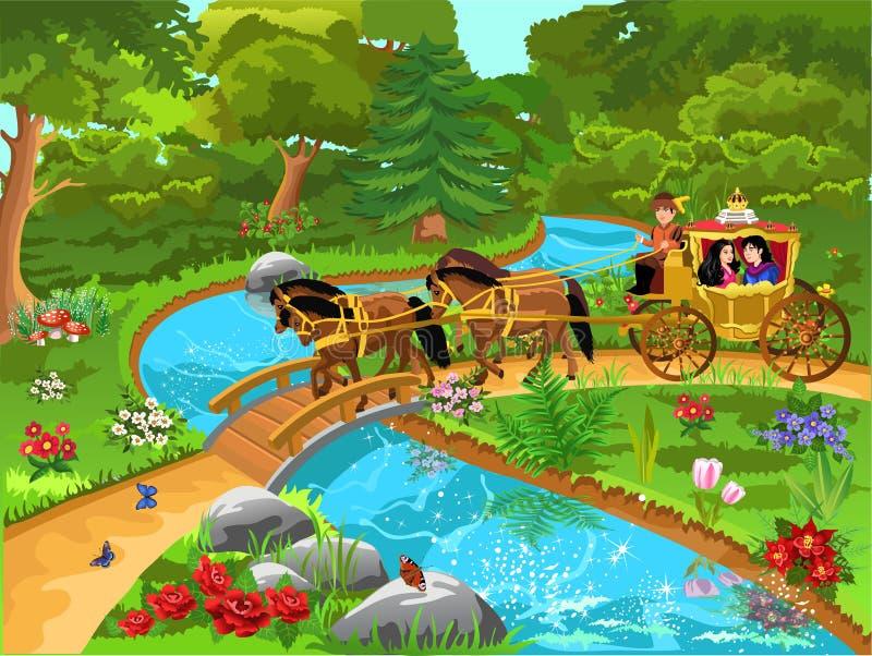 Экипаж принца и принцессы на пути в красивом ландшафте иллюстрация вектора