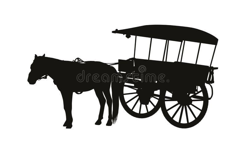 Экипаж страны старого стиля с одной лошадью в силуэте проводки иллюстрация штока