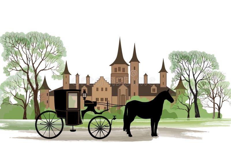 Экипаж с лошадью над старой предпосылкой парка города иллюстрация вектора