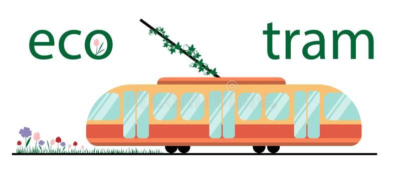 Экологический трамвай общественного транспорта Трамвай и заводы вокруг его в векторе Экологичность совместно с переходом Любовь д иллюстрация штока
