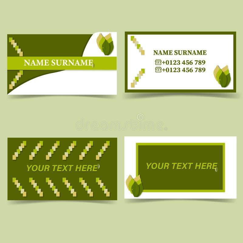 Экологический шаблон визитной карточки направления, цвет природы белый зеленый иллюстрация штока