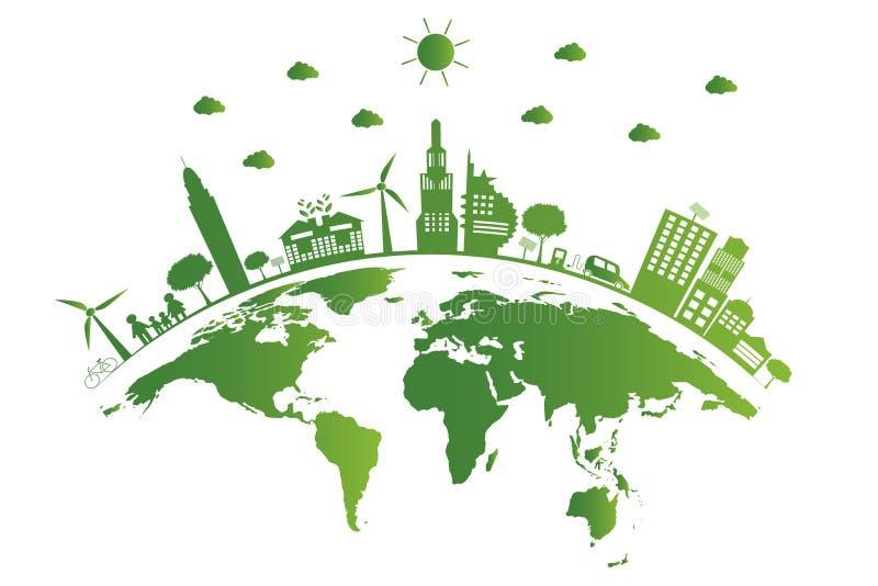 экологичность Зеленые города помогают миру, земле с дружественными к эко идеями концепции также вектор иллюстрации притяжки corel иллюстрация штока