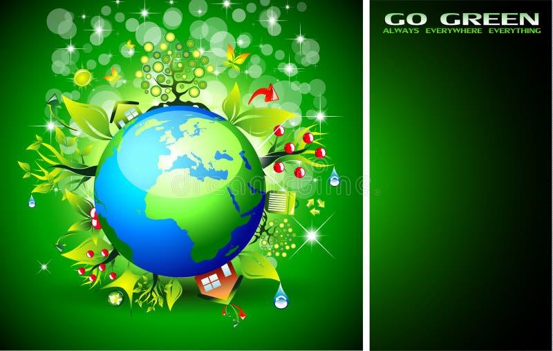 экологичность предпосылки идет зеленый цвет иллюстрация вектора